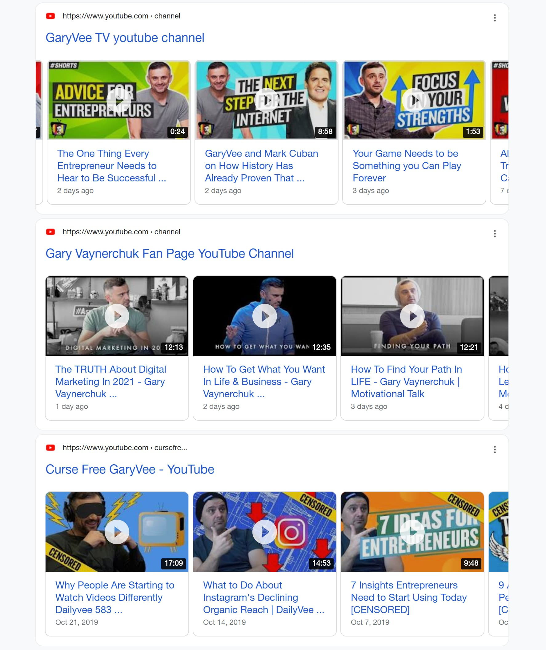 """Inline Video Carousels Results for """"garyvee youtube channel"""""""