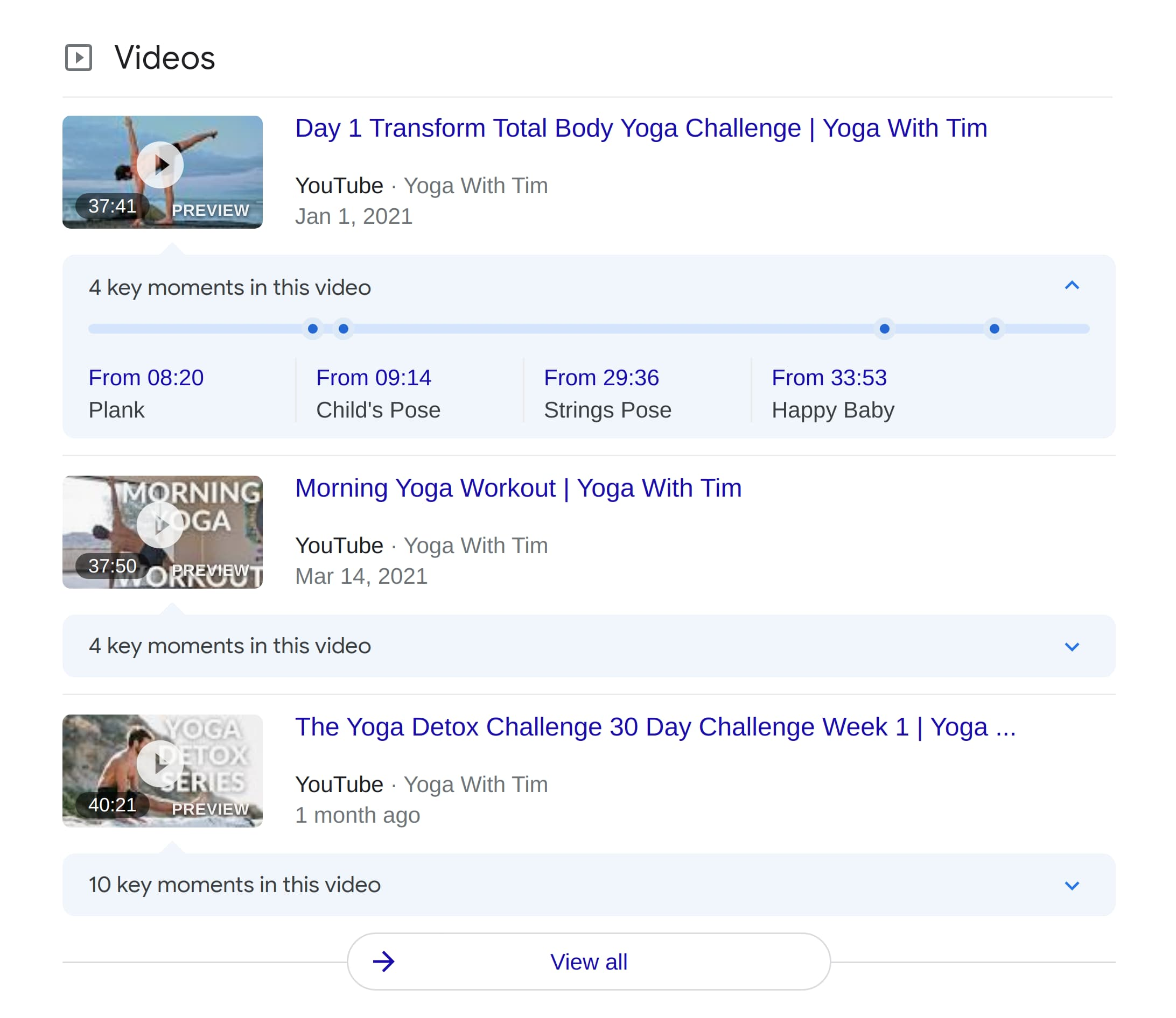 """Inline Videos Results for """"yoga with tim"""""""