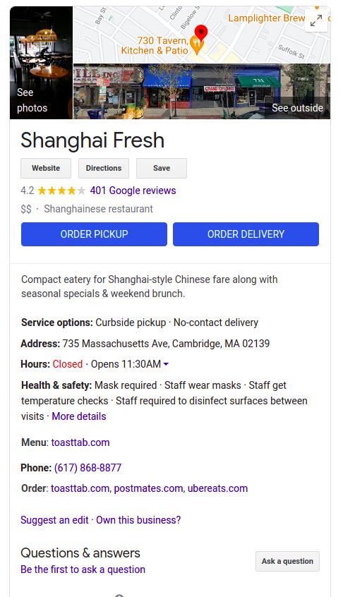 Results for: Shanghai Fresh Cambridge