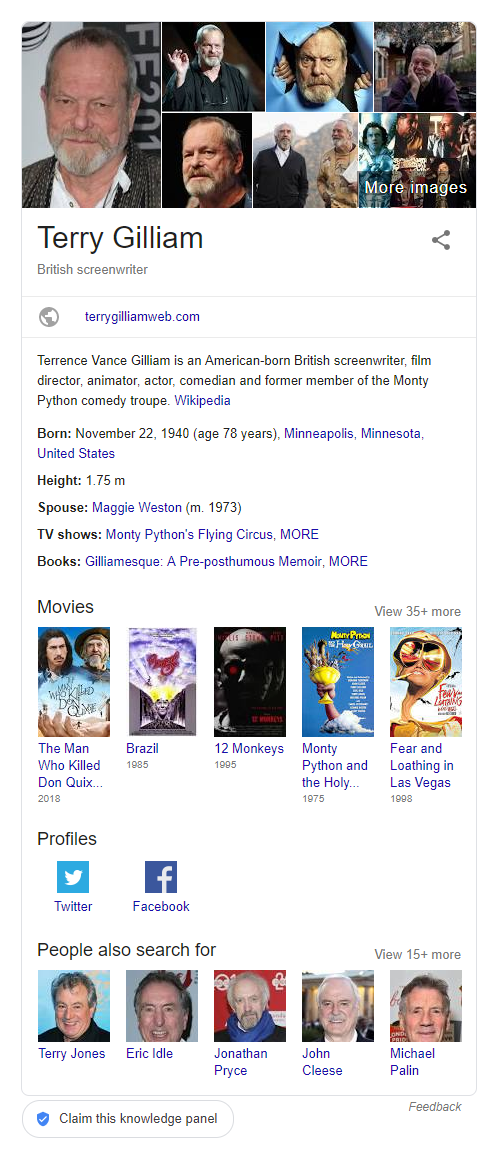 Results for: Terry Gilliam