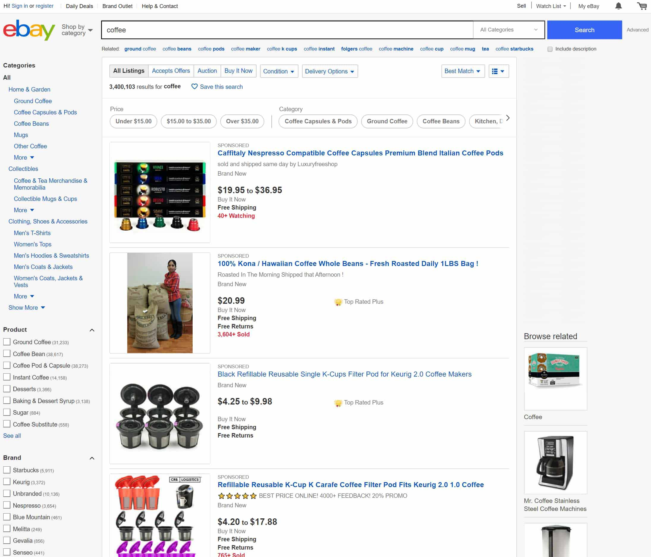 "Ebay search results for _nkw:""Coffee"""