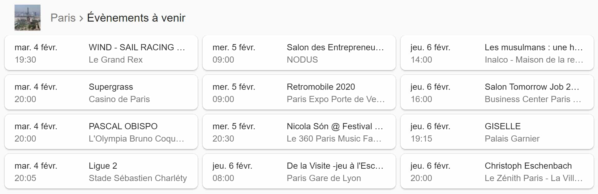 Results for events in Paris