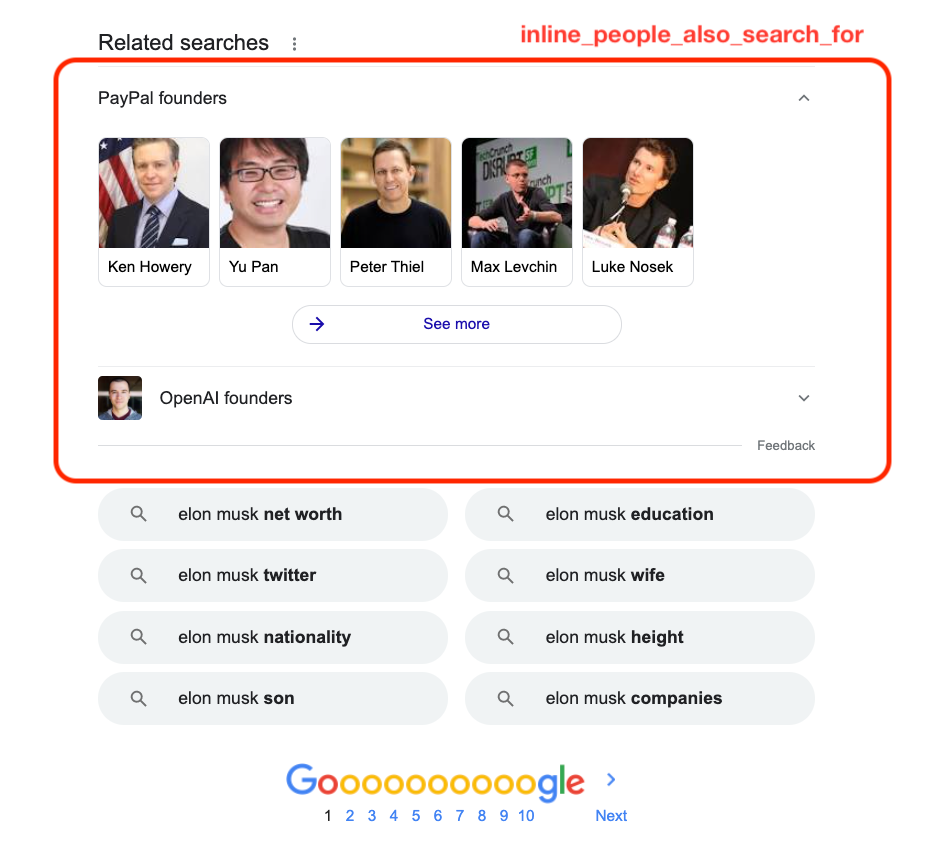 "Inline People Also Search For Results ""Elon Musk"""
