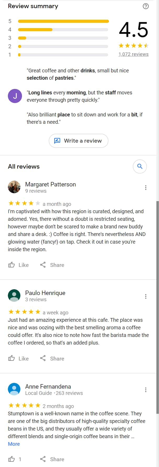 """User Reviews"" for place results"