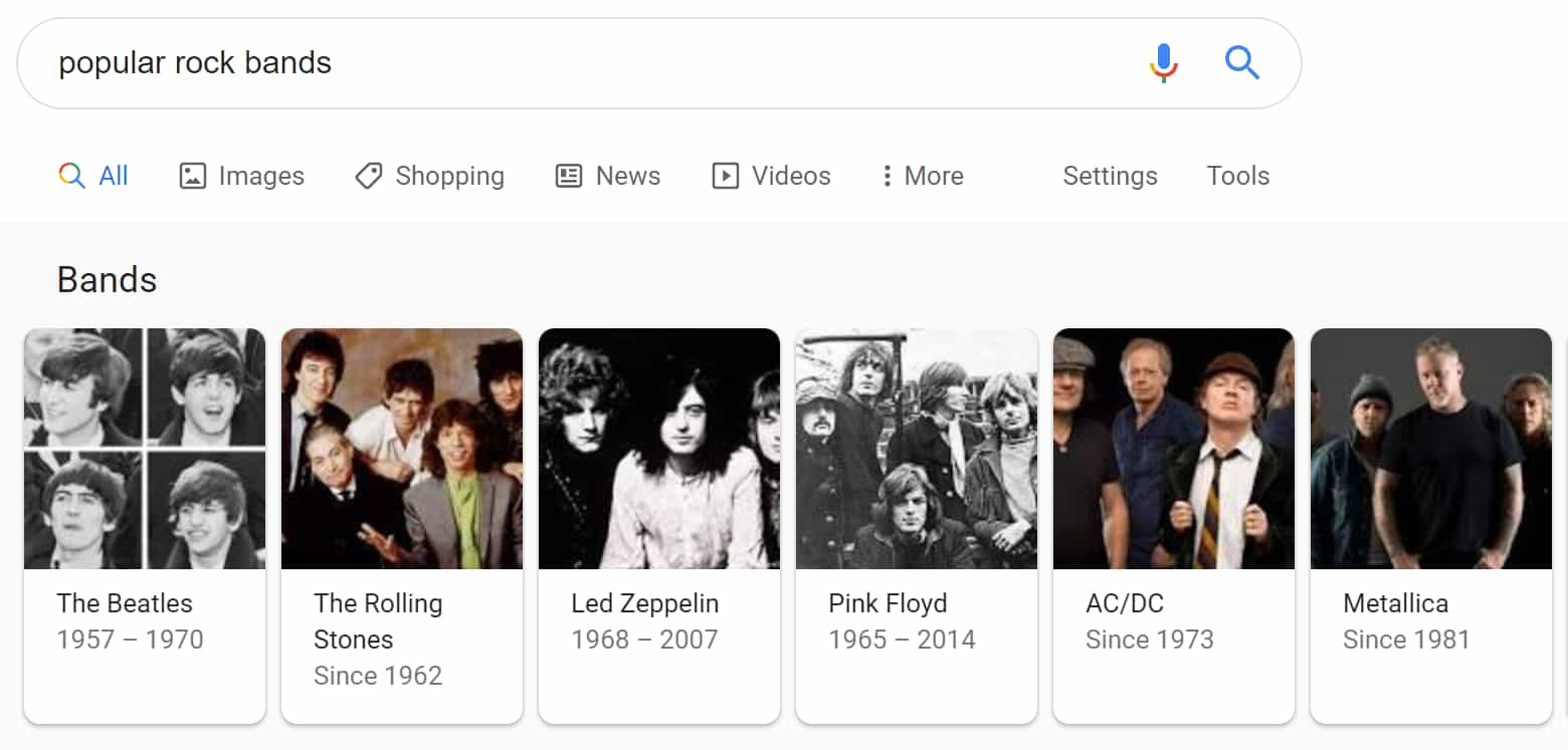 "Top Carousel results for ""Popular Rock Bands"""
