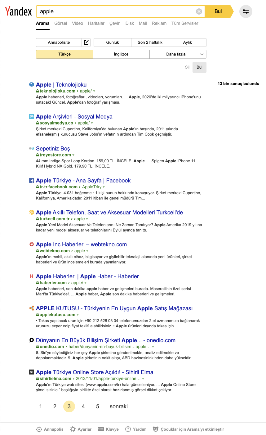 "Example with text:""apple"", third page p:3, turkish language and domain language:""tr"", yandex_domain:""yandex.com.tr"""
